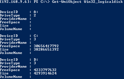 Server Core 2012 View Free Space on Drives