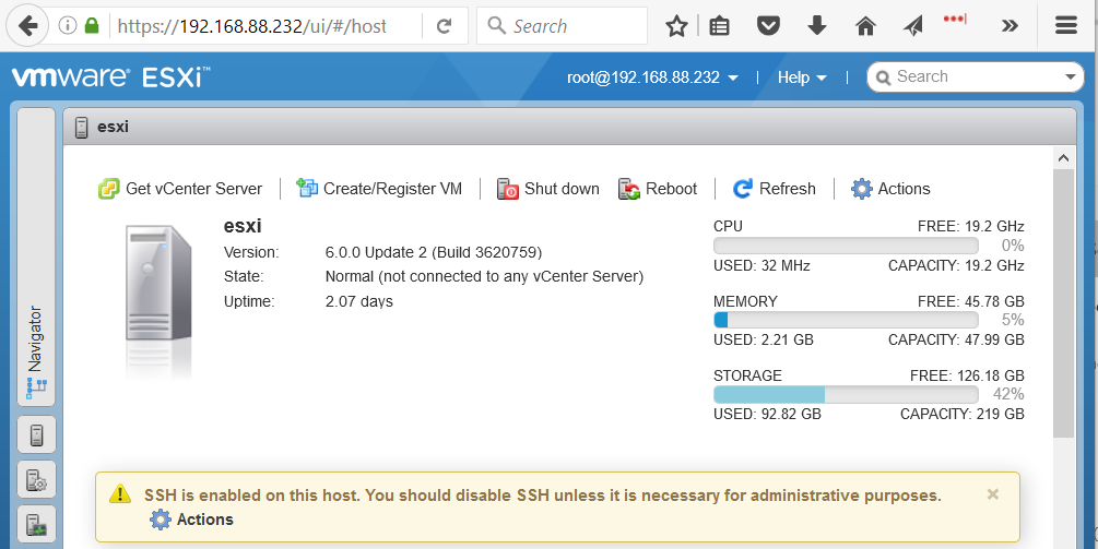 VMware ESXi Embedded Host Client Initial Screen