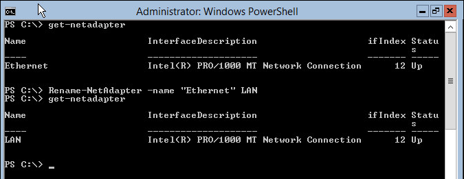 Server Core 2012 rename network adapter