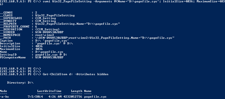 Server Core 2012 Move Paging File