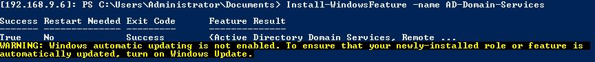 Server Core 2012 Install-WindowsFeature AD-Domain-Services