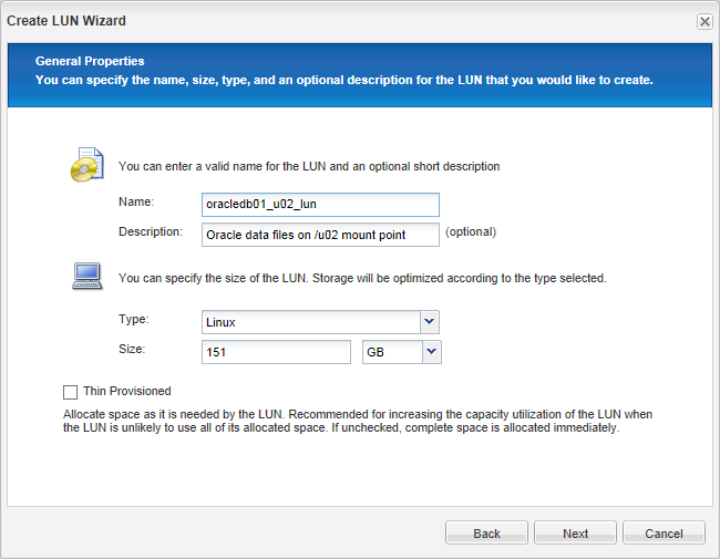 Creating an Oracle LUN on NetApp