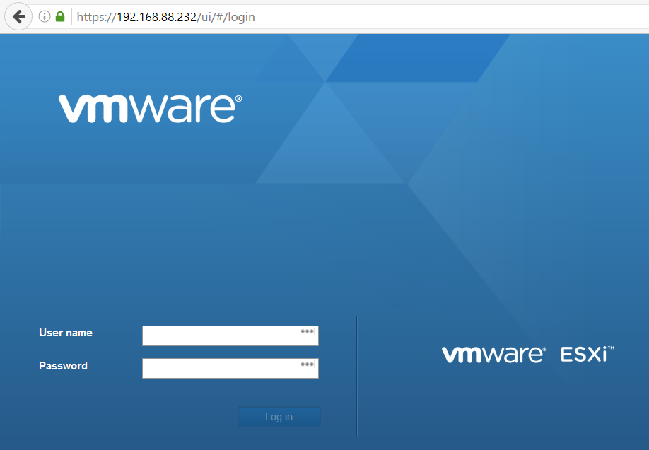 VMware ESXi Embedded Host Client Login Screen